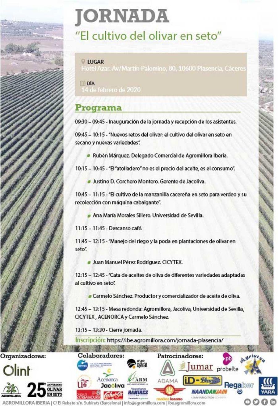 Jornada: El cultivo del olivar en seto. Plasencia. 14 de febrero de 2020