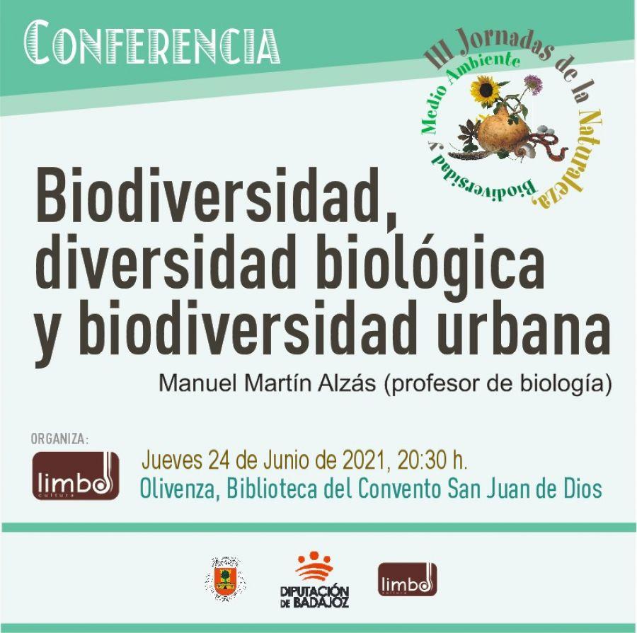 Conferencia 'Biodiversidad, diversidad biológica y biodiversidad urbana'