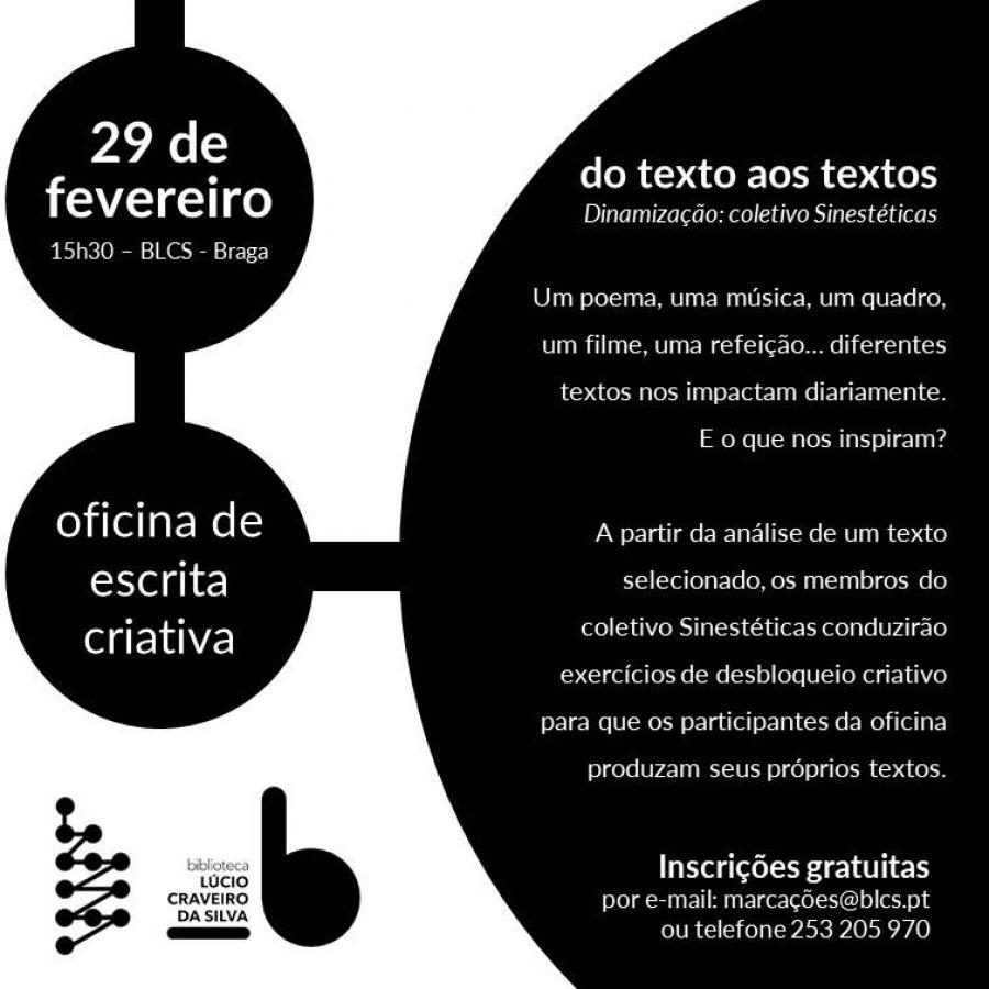Coletivo Sinestéticas: do texto aos textos - Oficina de escrita criativa