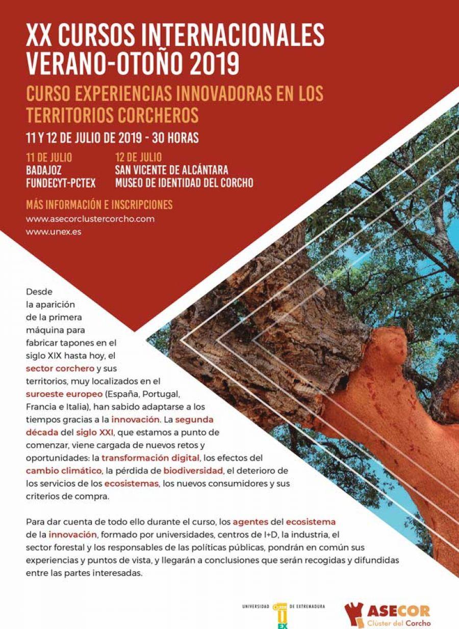 Curso. Experiencias innovadoras en los territorios corcheros. 11 y 12 de julio. Badajoz/San Vicente de Alcántara