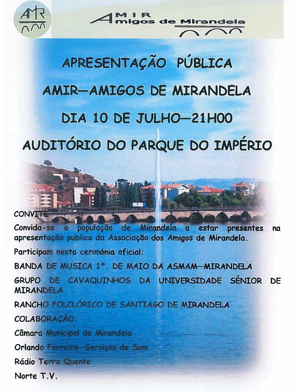 Apresentção Pública  - AMIR Amigos de Mirandela