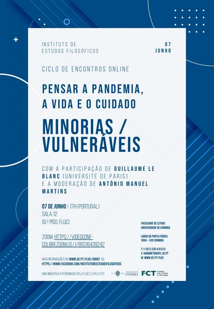 """Ciclo de Encontros """"Pensar a Pandemia, a Vida e o Cuidado"""" – Minorias / Vulneráveis"""