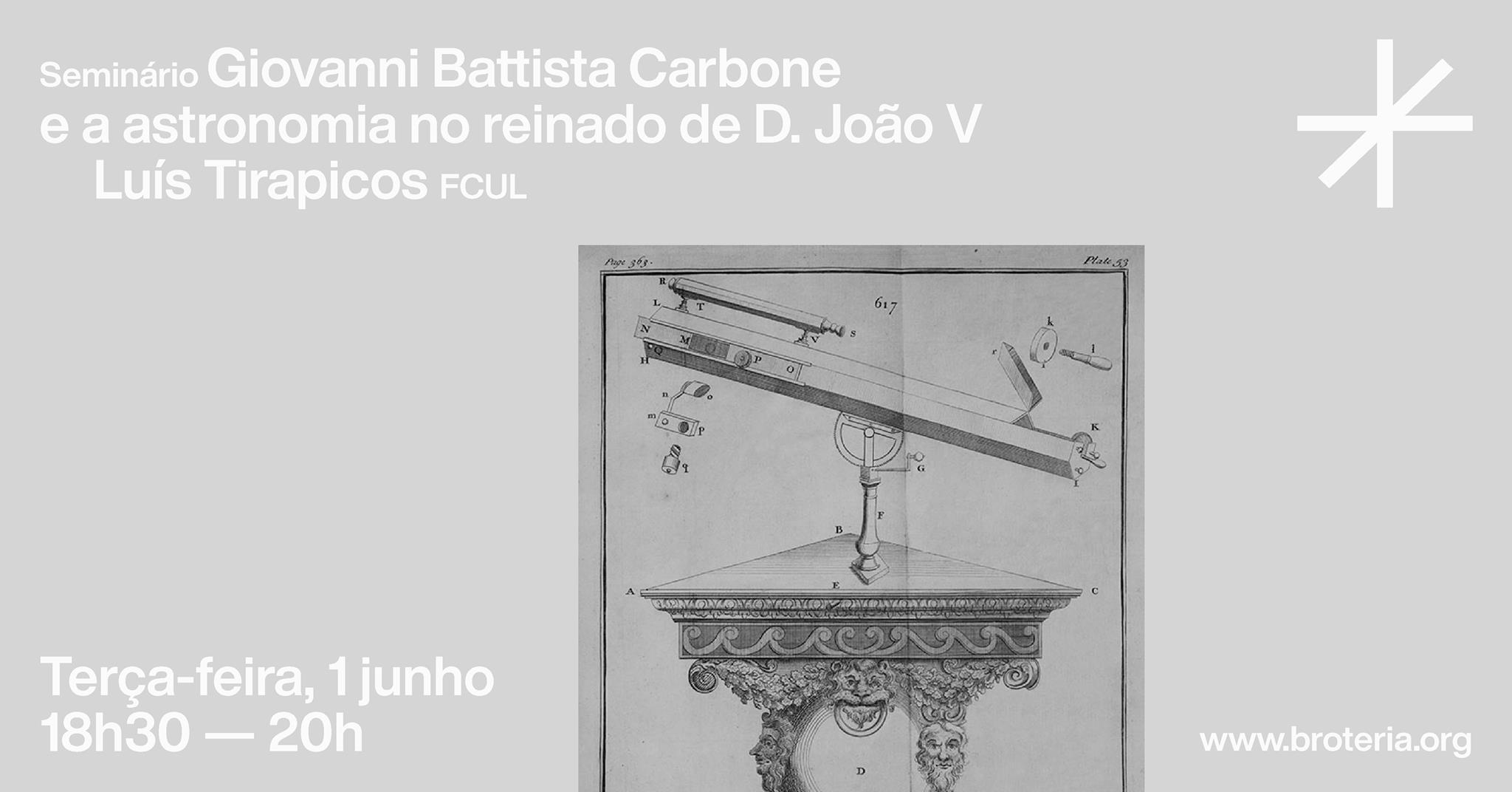 Seminário | Giovanni Battista Carbone e a astronomia no reinado de D. João V