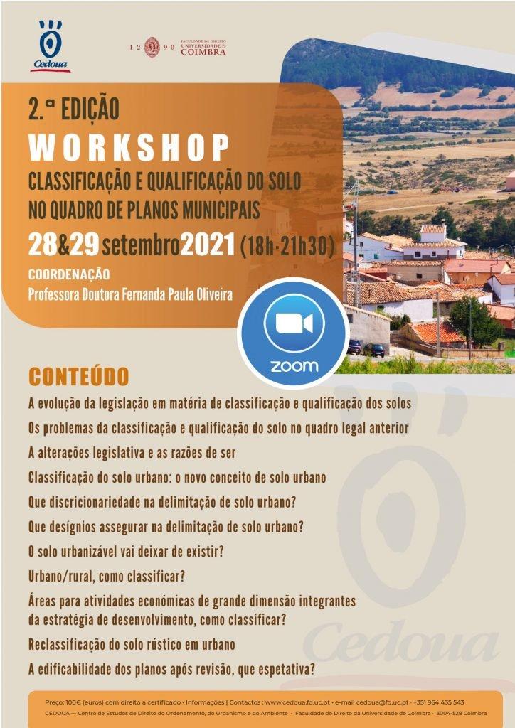 WORKSHOP . Classificação e qualificação dos solo no quadro de planos municipais . 2.a EDIÇÃO