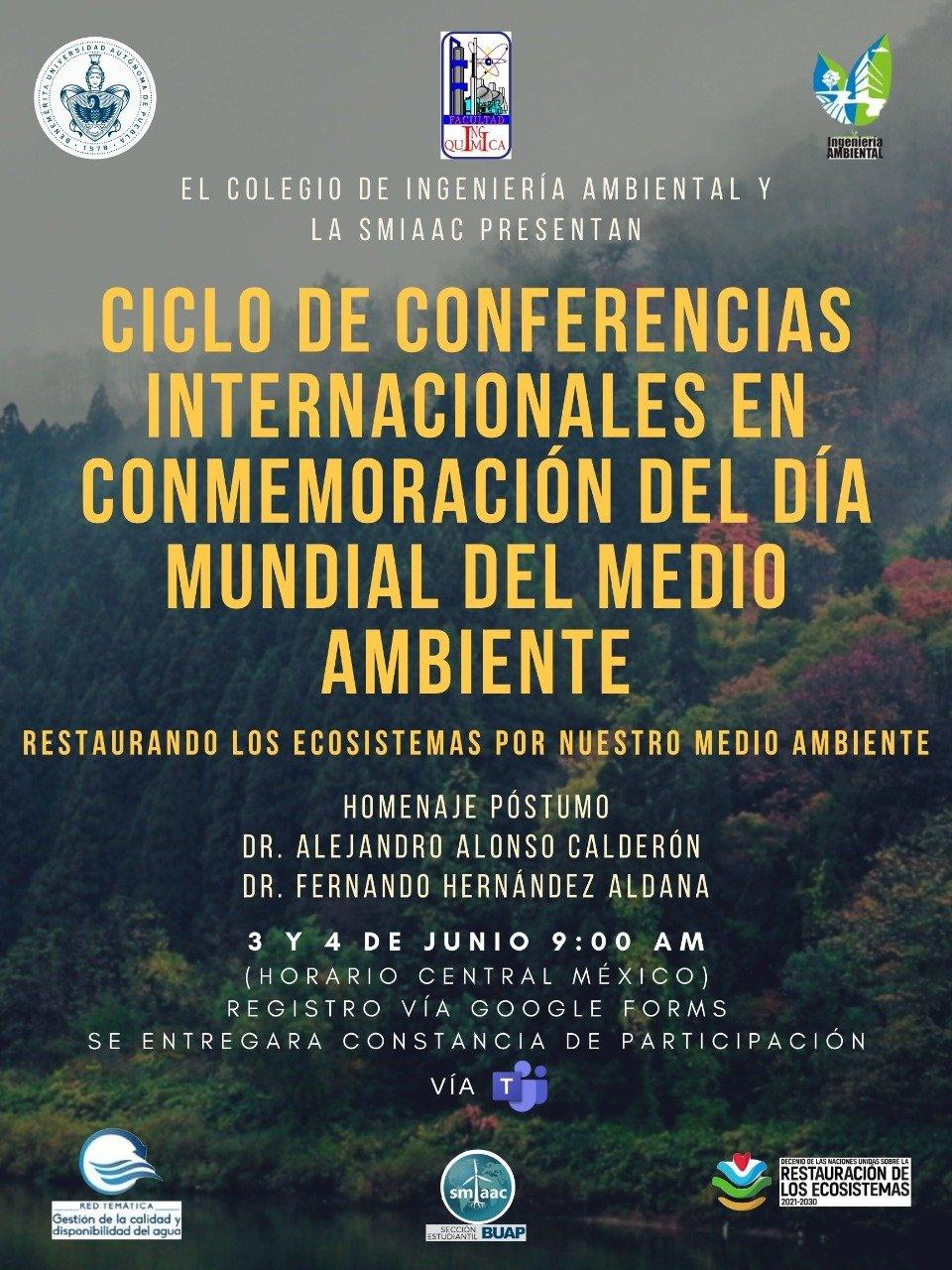 Ciclo de Conferencias Internacionales Día Mundial del Medio Ambiente (México). 3 y 4 de junio de 2021