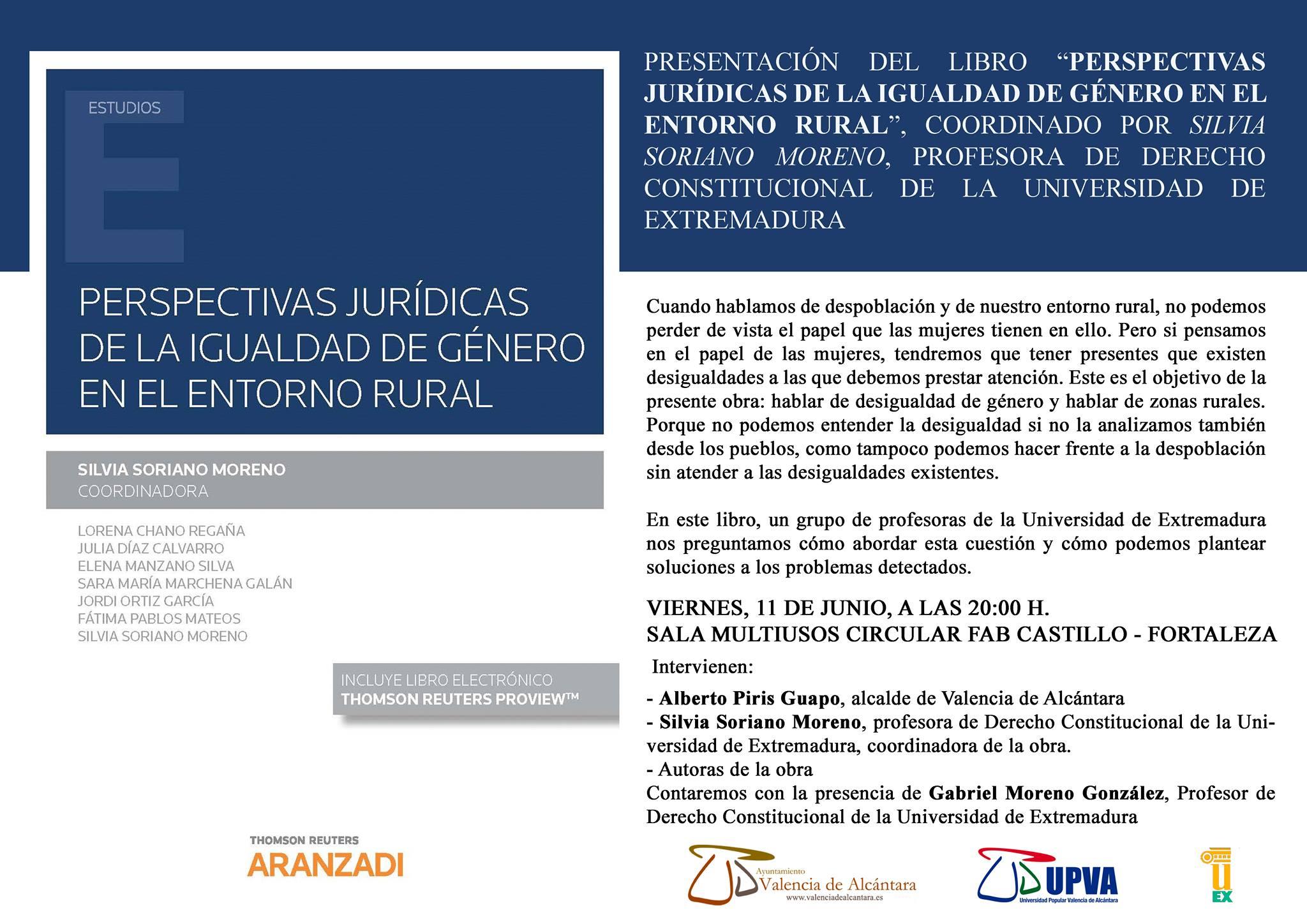 Presentación del libro PERSPECTIVAS JURÍDICAS DE LA IGUALDAD DE GÉNERO EN EL ENTORNO RURAL