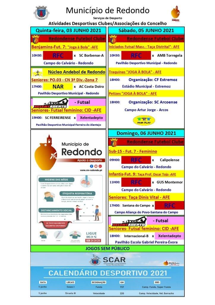 Atividades desportivas dos Clubes/ Associações do Concelho de Redondo – 03/ 05/ 06 de junho