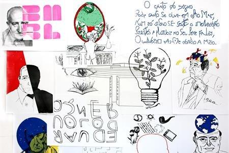 Mostra de serigrafias - Olhares sobre Eduardo Lourenço - alunos de artes da Escola Secundária da Sé