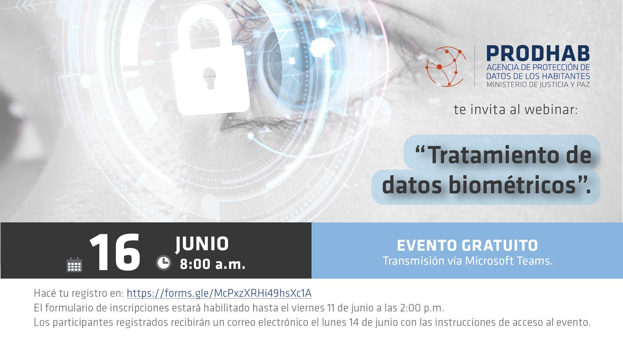 Webinar: 'Tratamiento de datos biométricos'