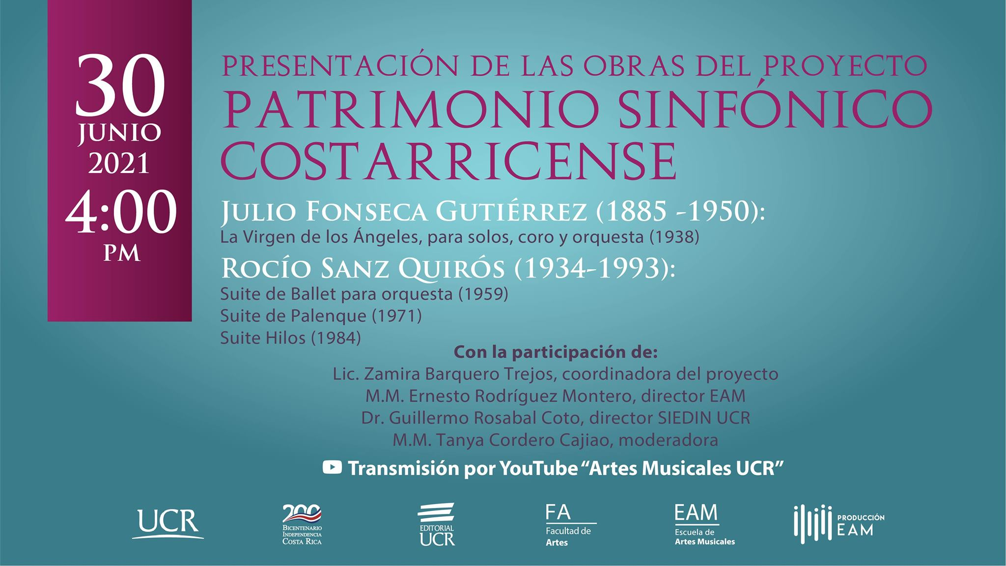 Presentación de las obras del proyecto  Patrimonio Sinfónico Costarricense