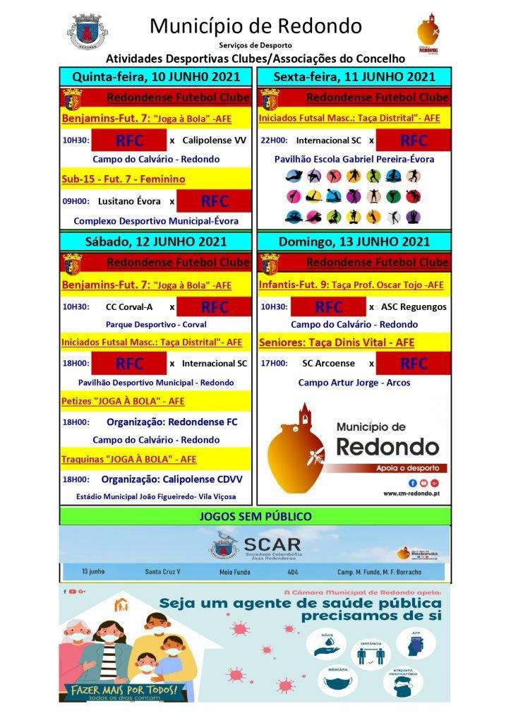 Atividades desportivas dos Clubes/ Associações do Concelho de Redondo – 10/ 11/ 12/ 13 de junho