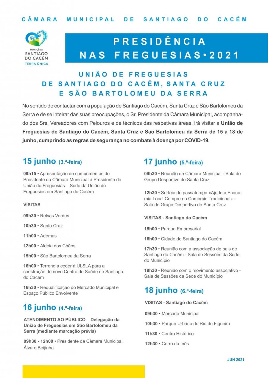 Presidência nas Freguesias 2021 – União de Freguesias de Santiago do Cacém, Santa Cruz e São Bartolomeu da Serra