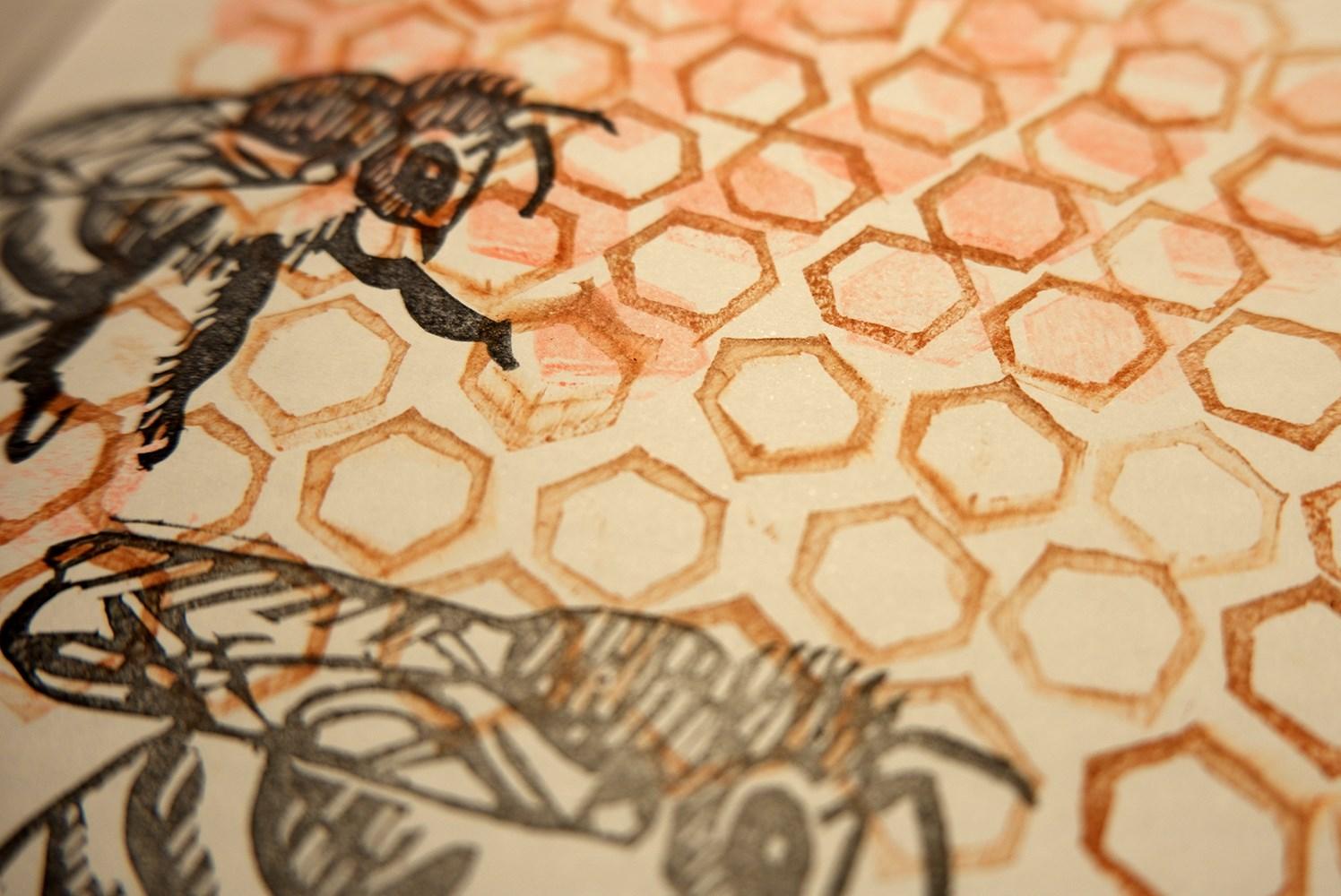 Workshop de linóleo: abelhas gravadoras com a Oficina do Cego