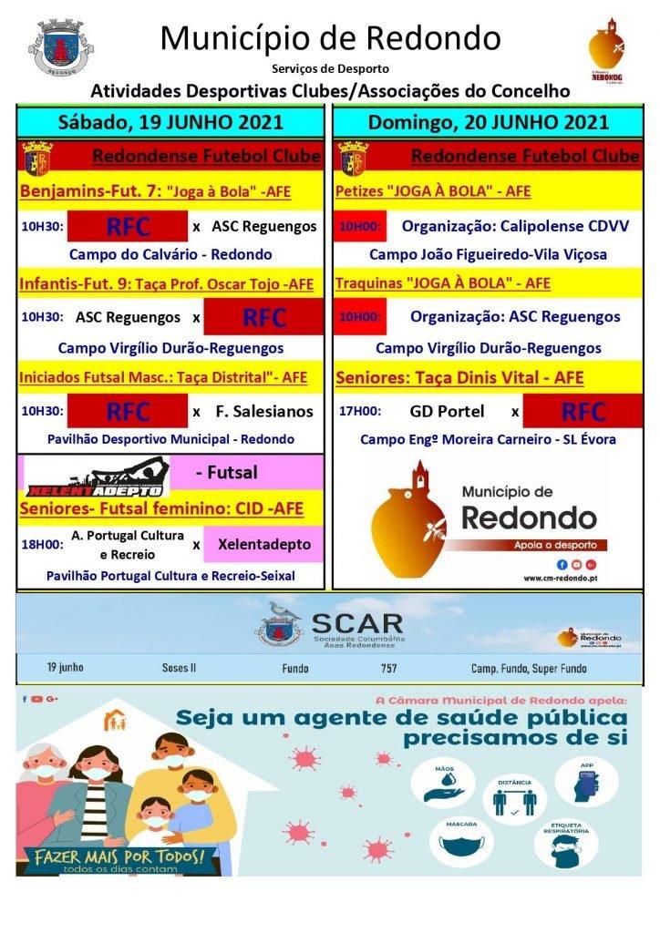 Atividades desportivas dos Clubes/ Associações do Concelho de Redondo – 19/ 20 de junho