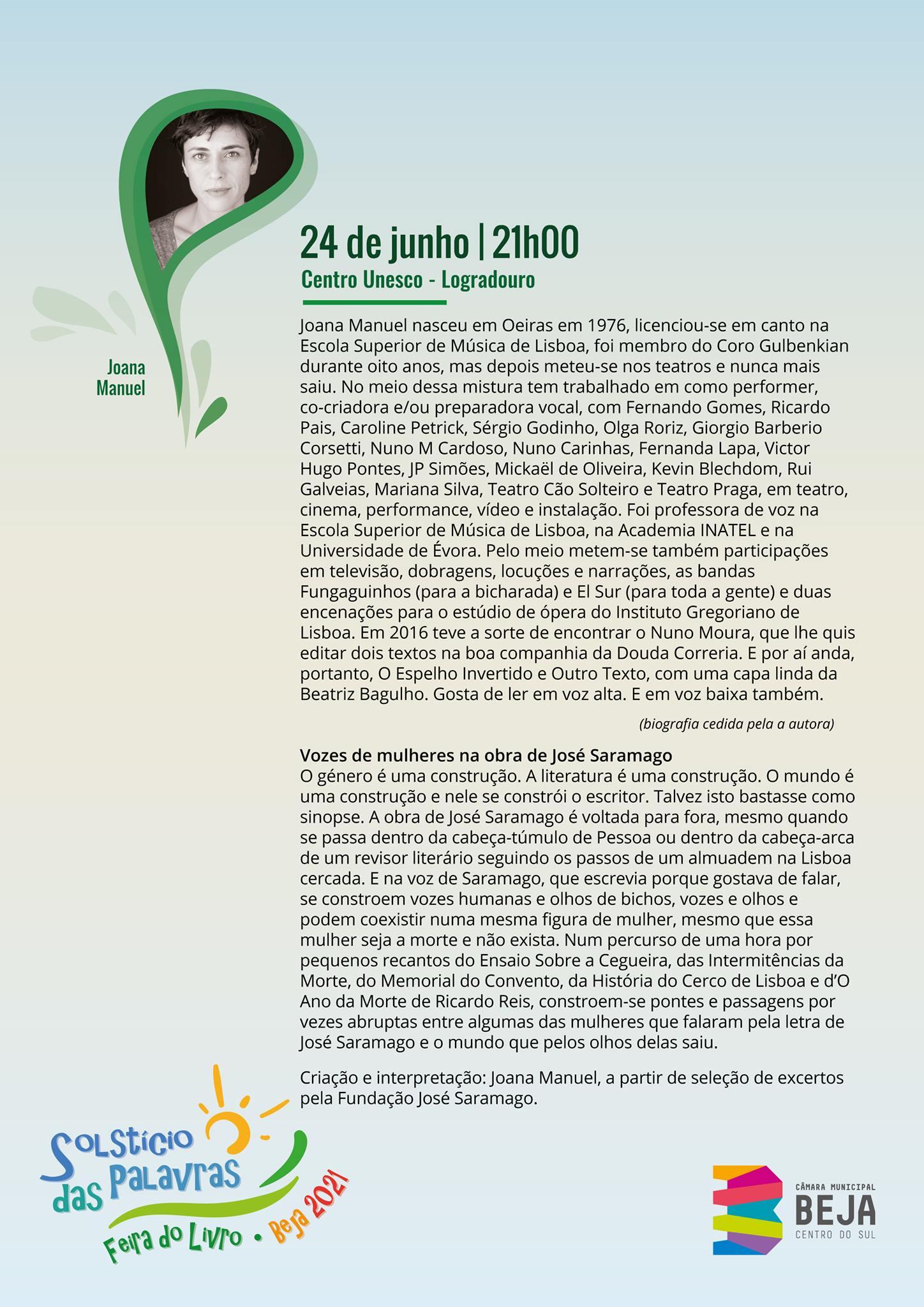 Vozes de Mulheres na obra de José Saramago na Feira do Livro - Solstício das Palavras