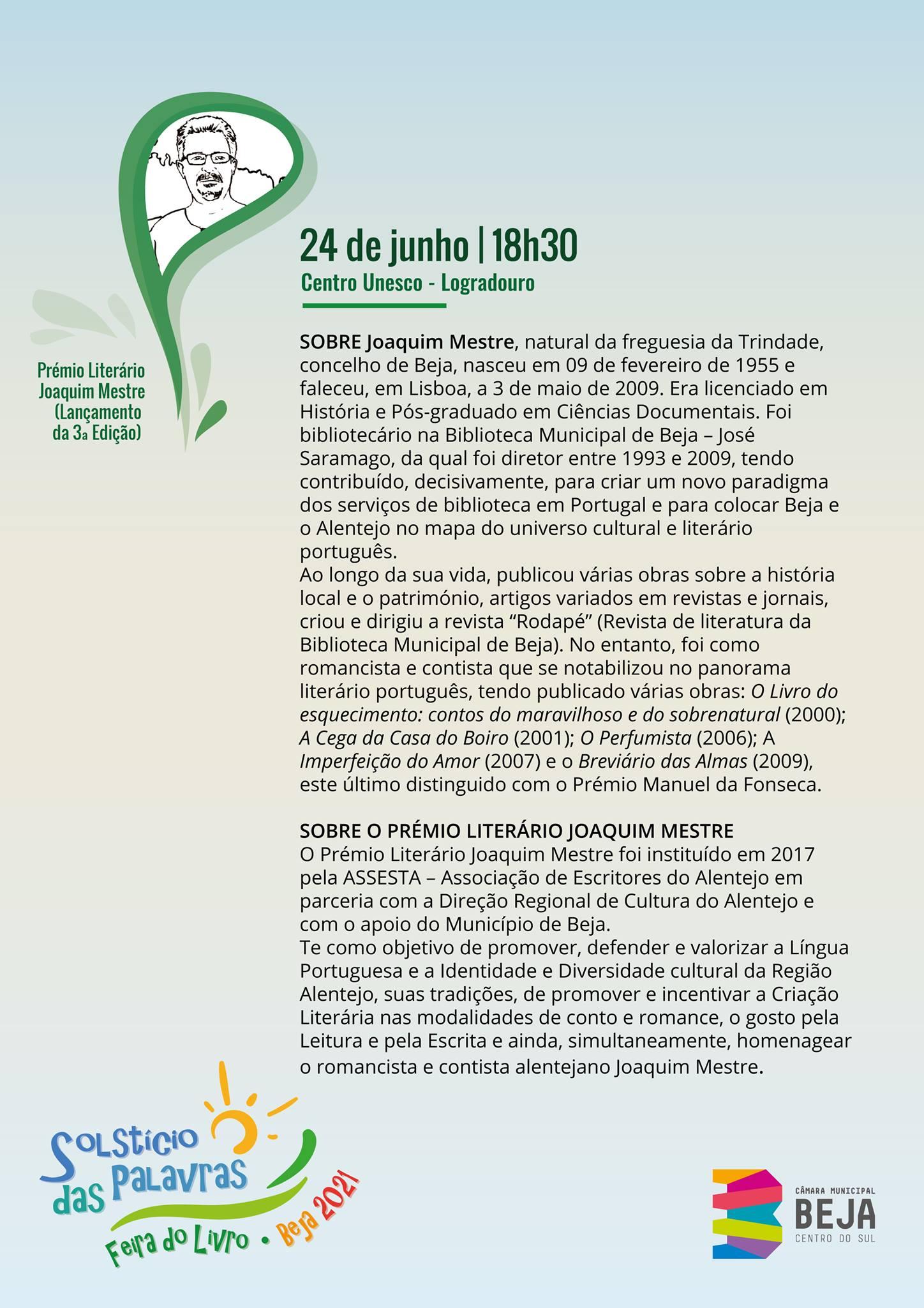 3a edição do Prémio Literário Joaquim Mestre na Feira do Livro - Solstício das Palavras