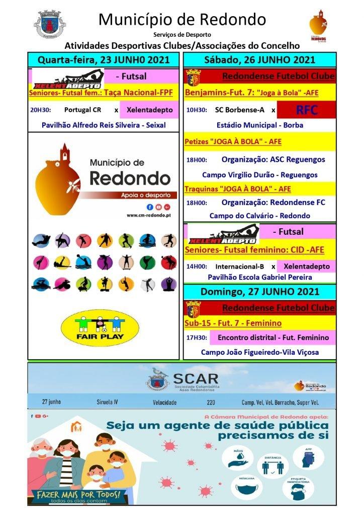 Atividades desportivas dos Clubes/ Associações do Concelho de Redondo – 23/ 26/ 27 de junho