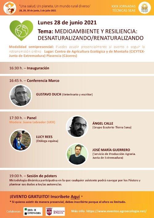 XXIX Jornadas Técnicas de la Sociedad Española de Agricultura Ecológica/Agroecología (SEAE), 28 de junio al 1 de julio de 2021
