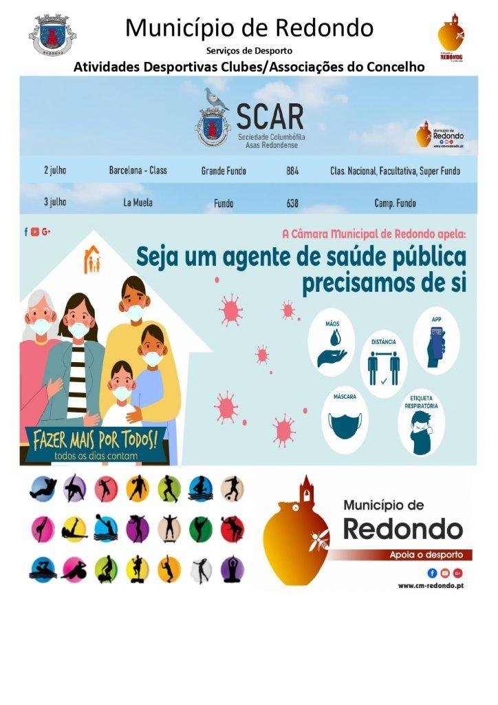 Atividades desportivas dos Clubes/ Associações do Concelho de Redondo – 02/ 03 de julho