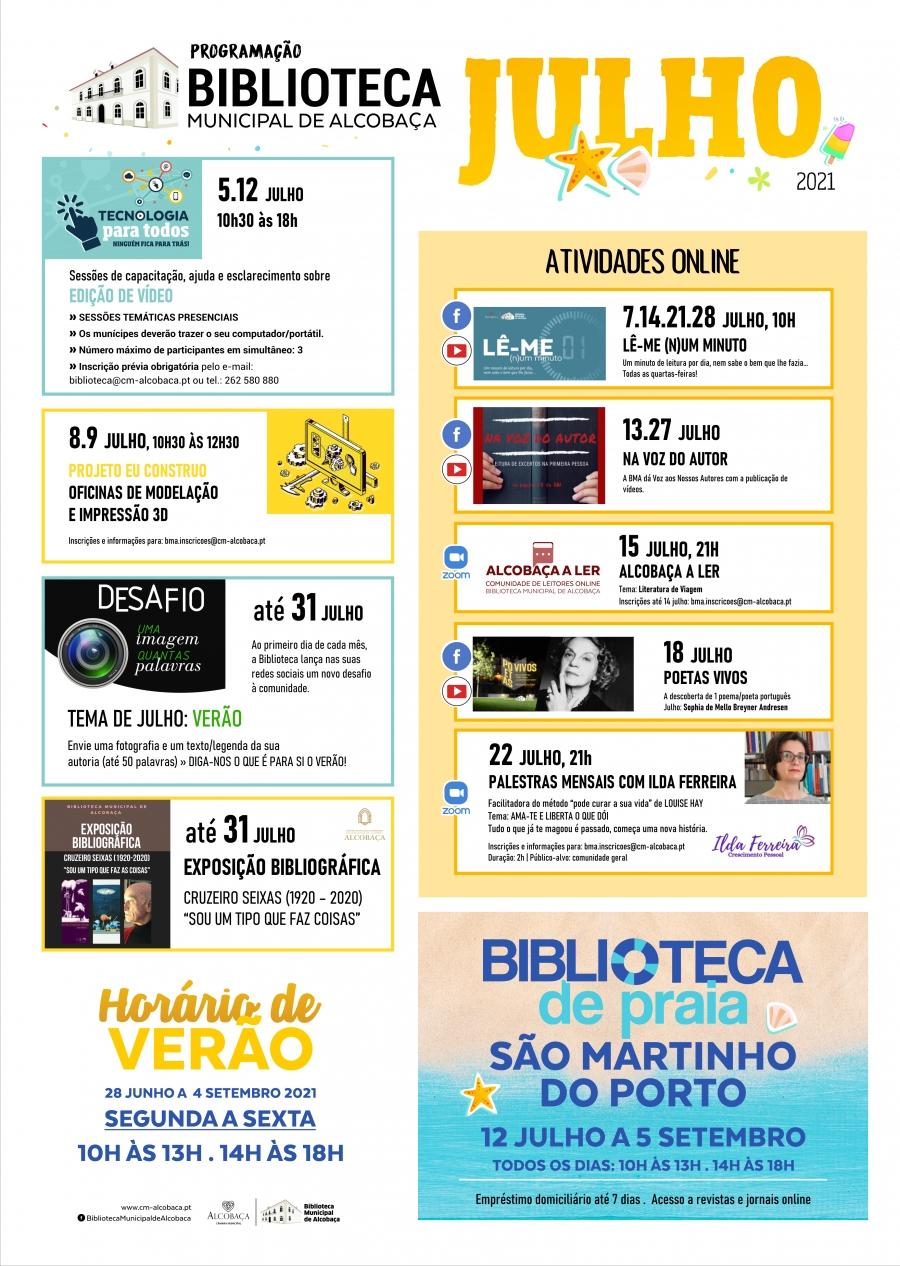 Biblioteca Municipal de Alcobaça - Programação JULHO 2021