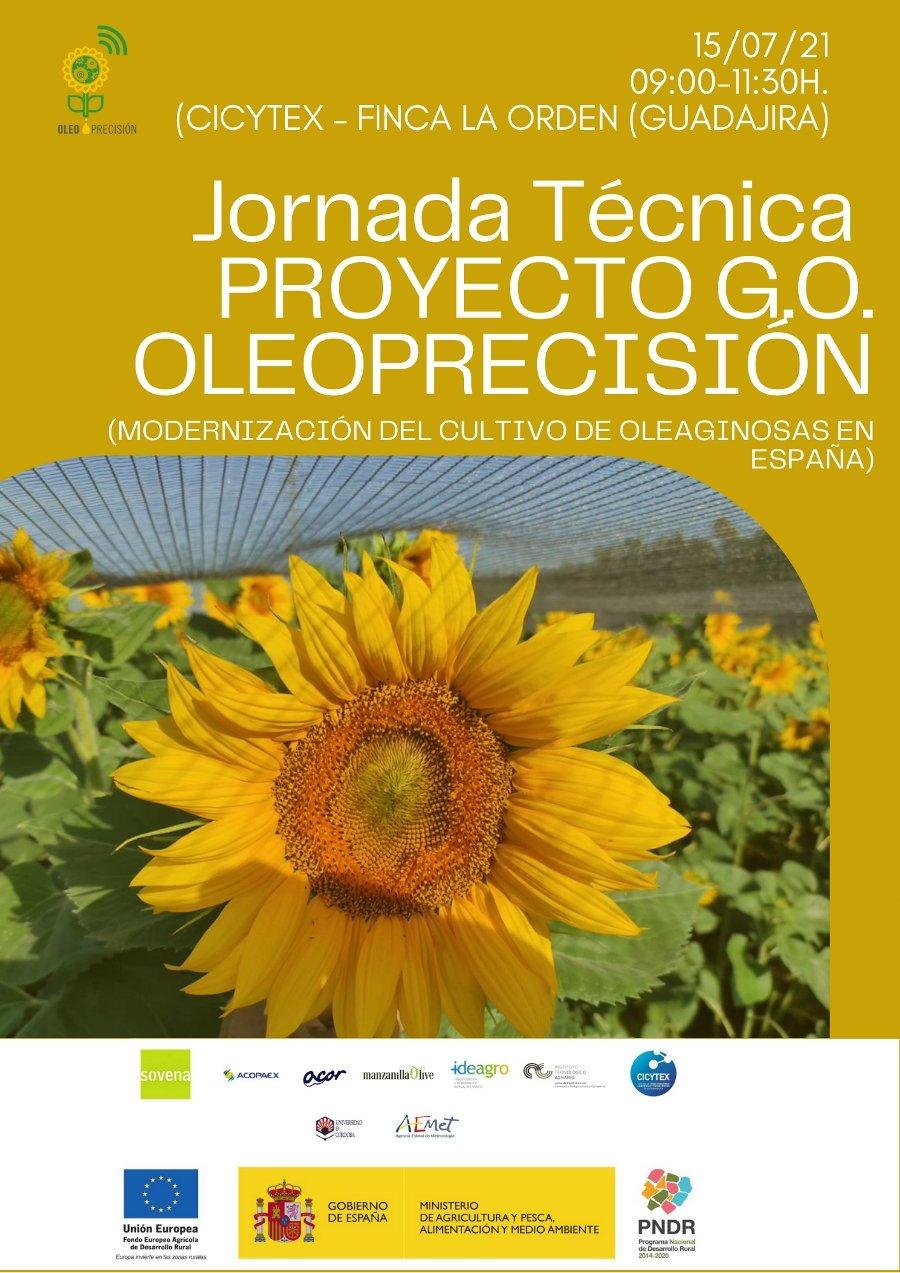 Jornada de campo proyecto GO Oleoprecisión: modernización del cultivo del girasol. Finca La Orden de CICYTEX. 15 de julio de 2021