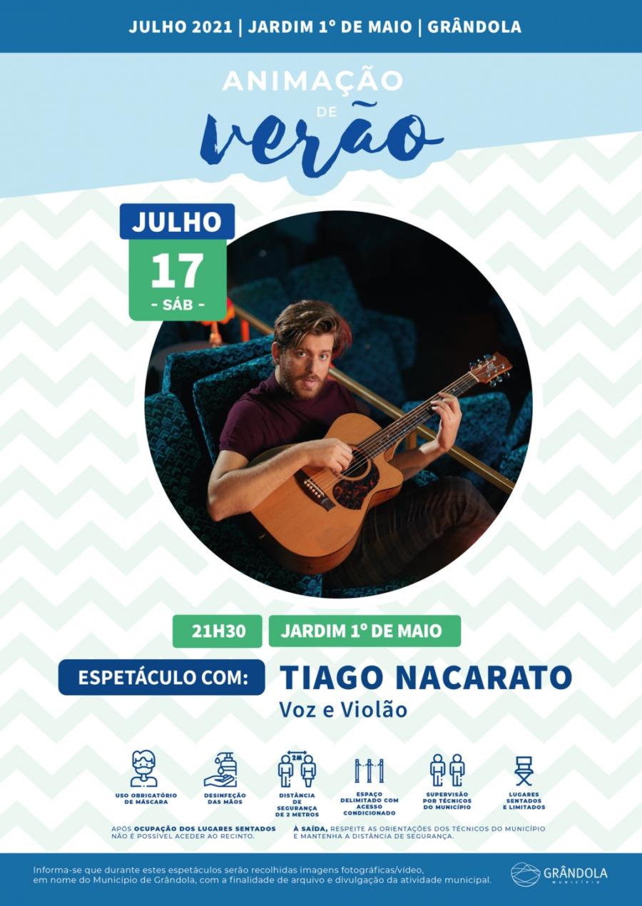 Animação de Verão | Jardim 1.º de Maio | Espetáculo com Tiago Nacarato – Voz e Violão