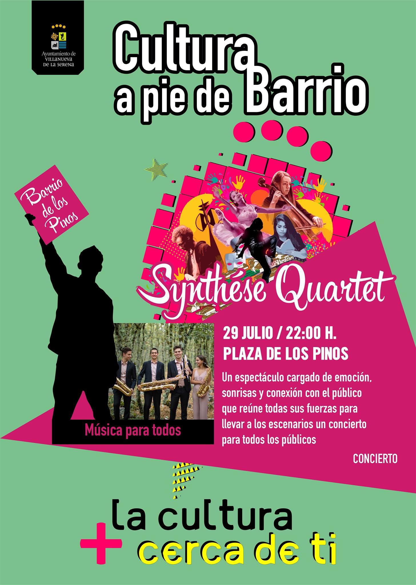 """Cultura a pie de barrio Concierto """"Synthèse Quartet"""" Barrio de los Pinos"""