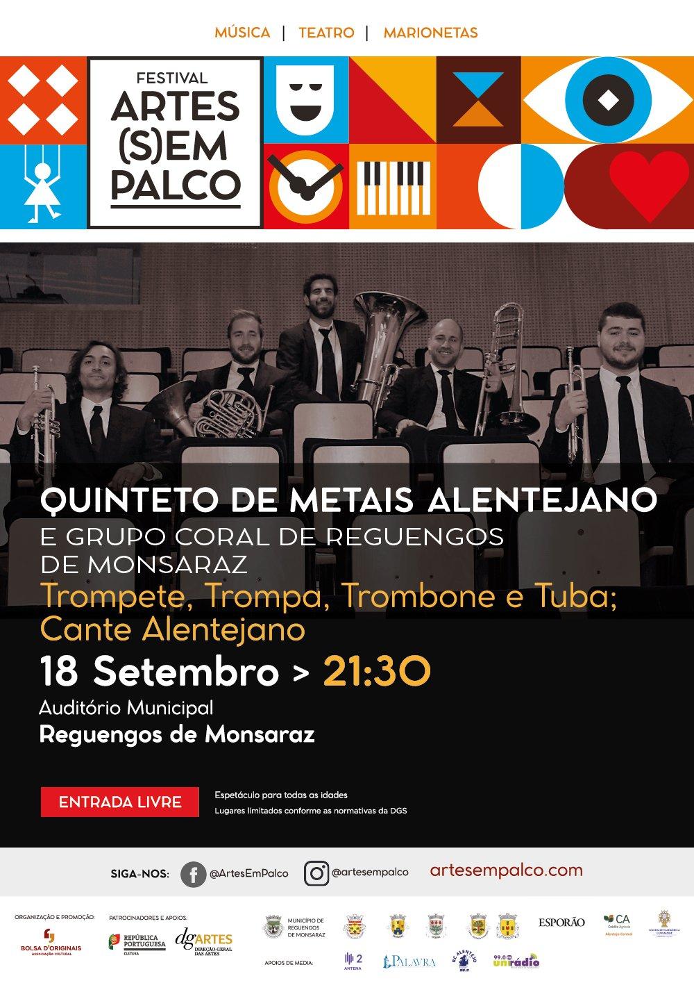 Festival Arte(s)em Palco: Quinteto de Metais Alentejano com Grupo Coral de Reguengos de Monsaraz
