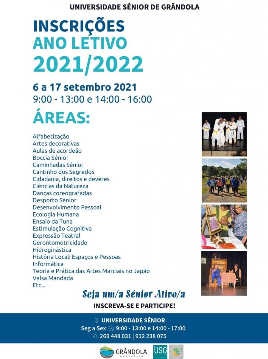 Universidade Sénior de Grândola   Inscrições Ano Letivo 2021 - 2022