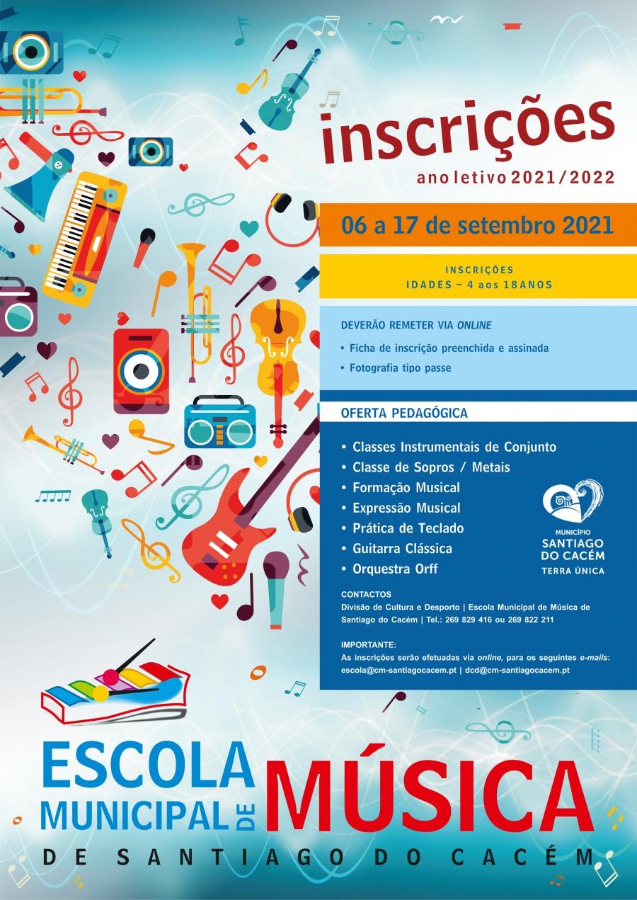 Inscrições Escola Municipal de Música – ano letivo 2021/2022