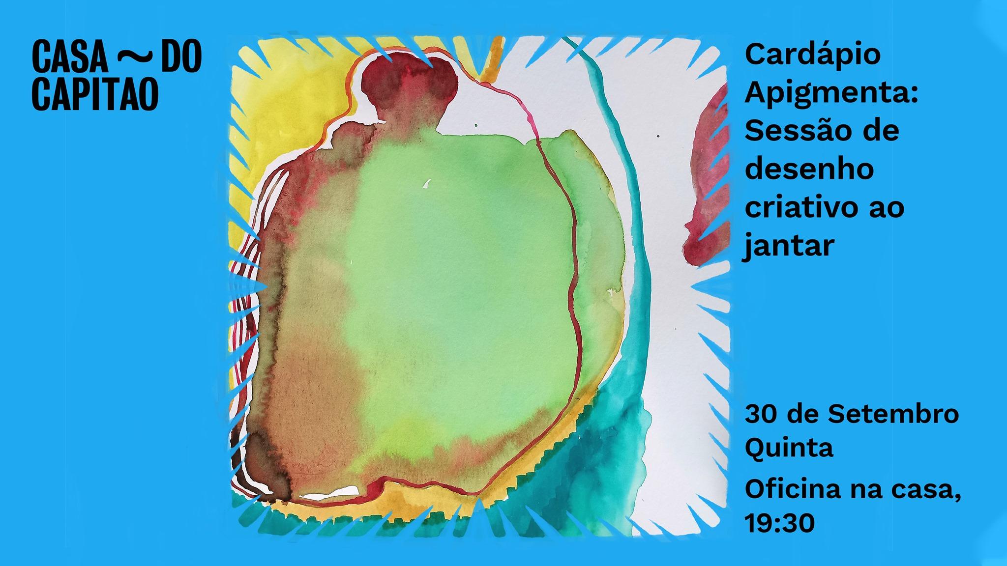 Cardápio Apigmenta: Sessão de desenho criativo ao jantar • oficina no terraço