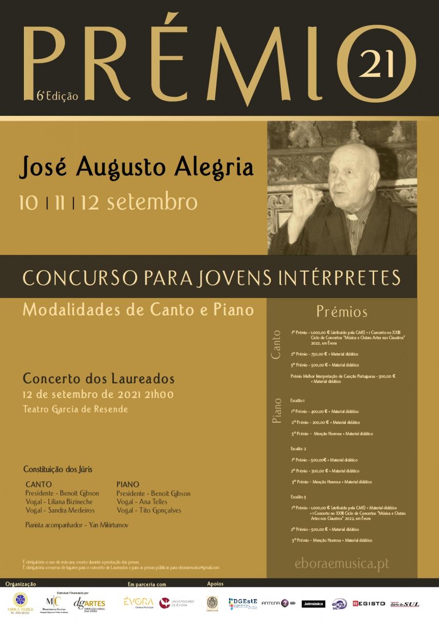 Prémio José Augusto Alegria- Prémio para Jovens Intérpretes – Canto e Piano