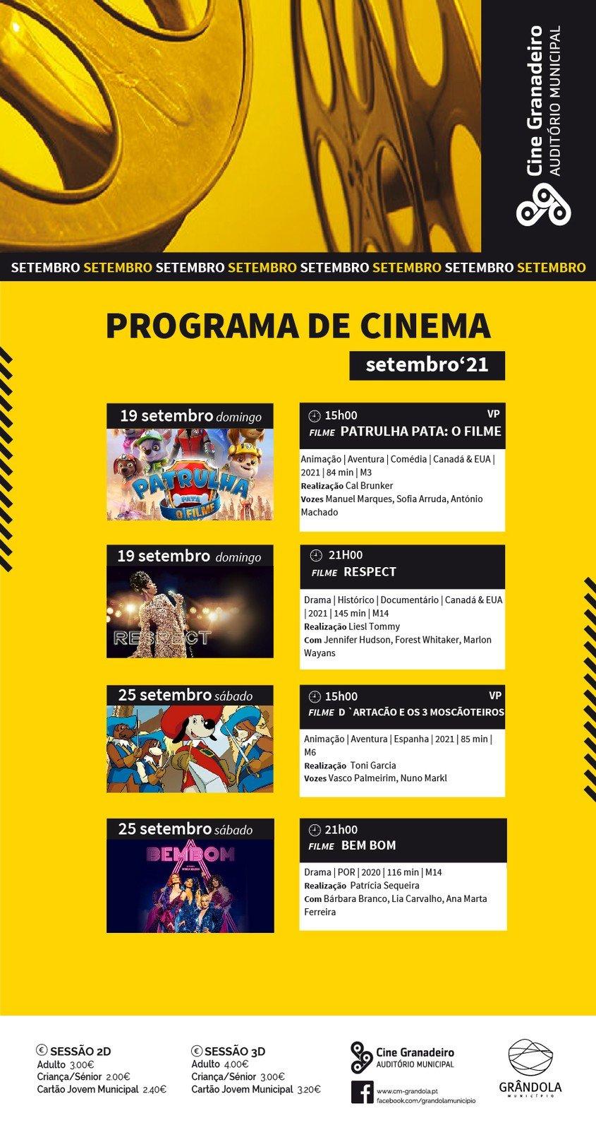 Cine Granadeiro - Cartaz de setembro e Normas de Higiene e Segurança