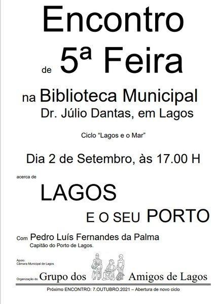 """ENCONTRO DE 5ª FEIRA – CICLO """"LAGOS E O MAR"""""""
