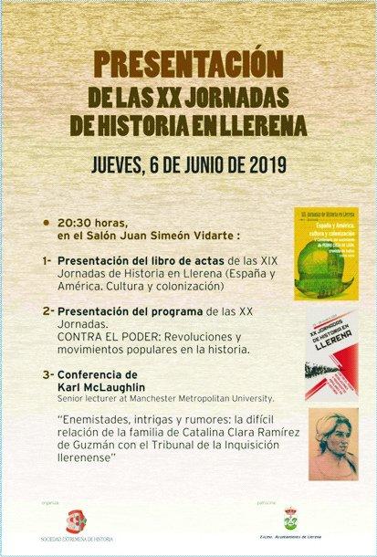 Presentación de las XX Jornadas de Historia en Llerena