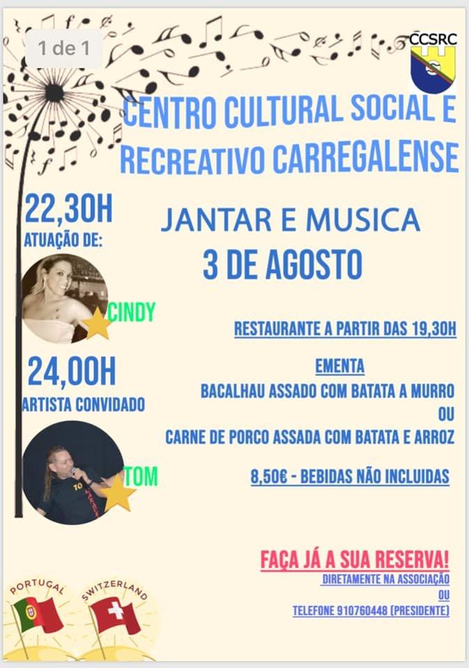 Jantar e Música  Centro Cultural Social e Recreativo Carregalense