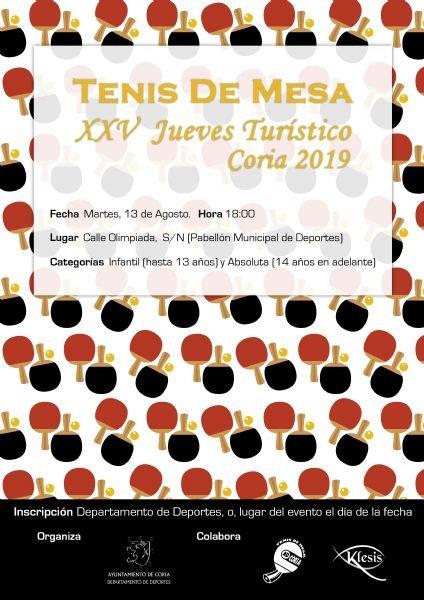 """XXV Tenis de Mesa """"Jueves Turístico"""""""