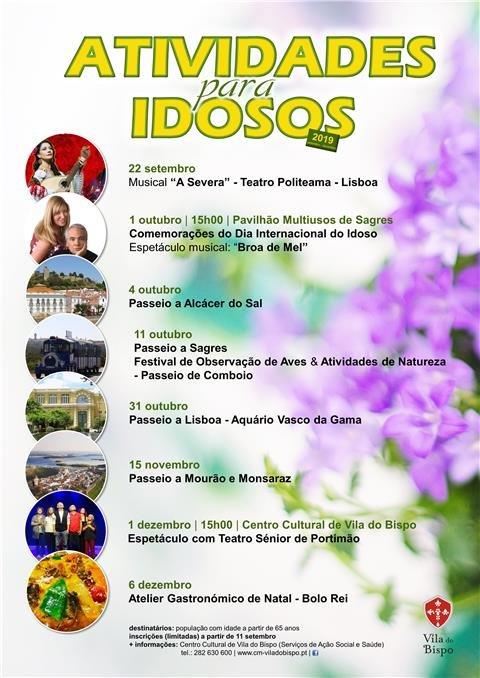 Atividades para Idosos 2019 -  Inscrições (limitadas) a partir de 11 de setembro
