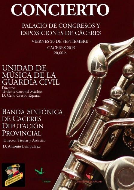 Concierto de la Unidad de Música de la Guardia Civil y de la Banda Sinfónica de la Diputación Provincial de Cáceres