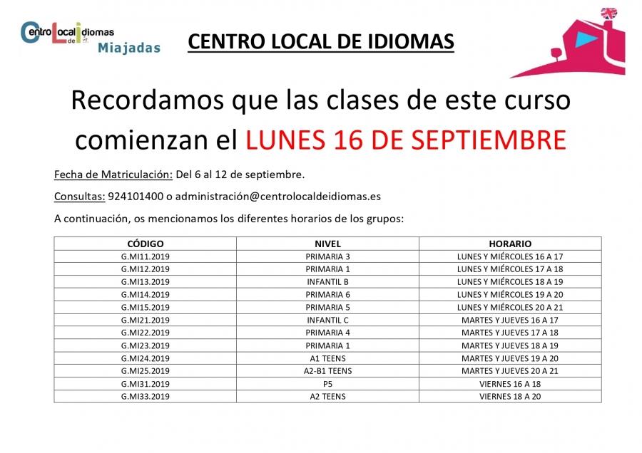Comienza el curso del Centro Local de Idiomas