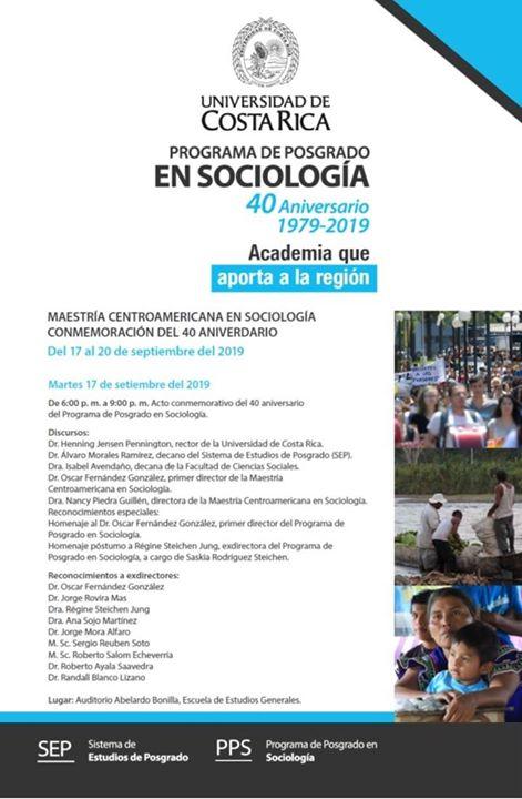 Acto conmemorativo del 40 aniversario del Posgrado en Sociología