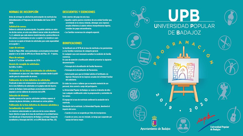 Universidad Popular de Badajoz. Cursos 2019-2020 1ª Fase