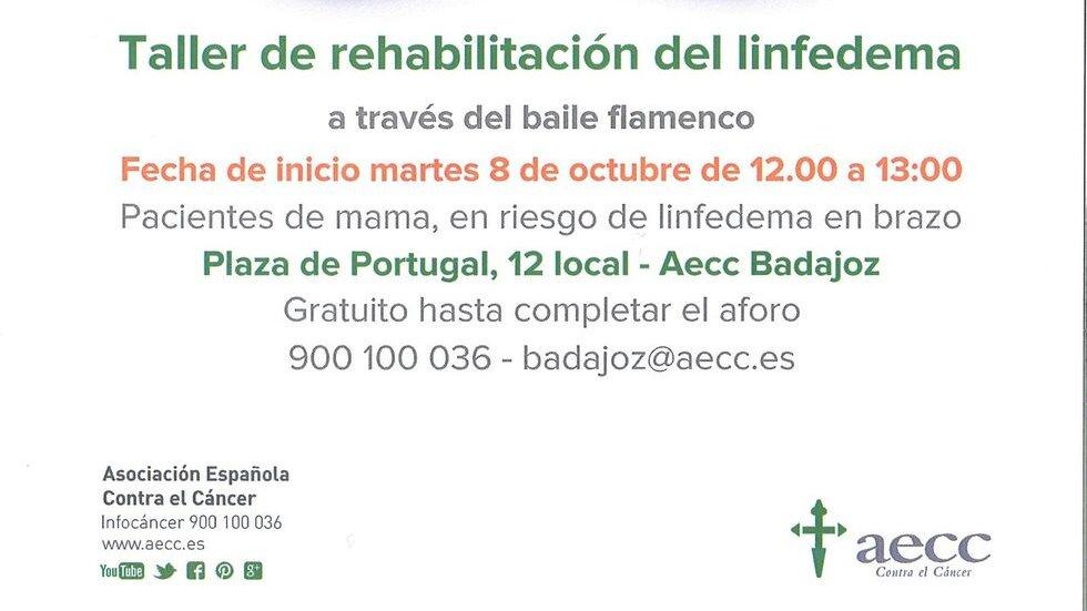 Taller de rehabilitación del linfedema a través del baile flamenco - AECC Badajoz