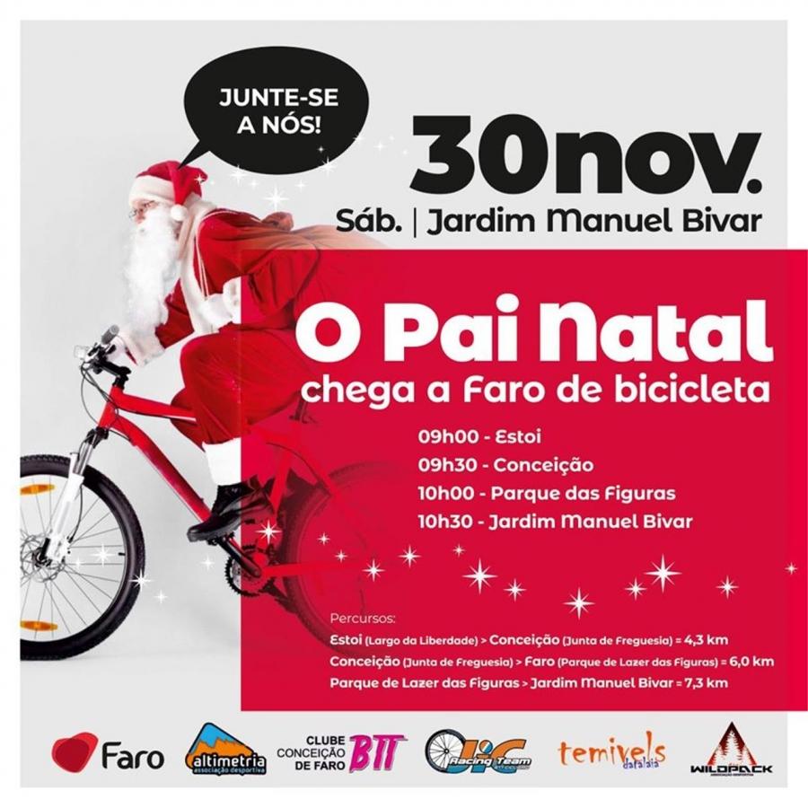 O Pai Natal chega a Faro de Bicicleta