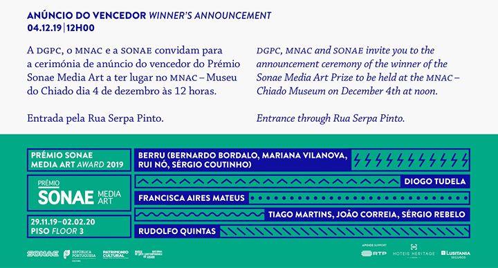 Prémio Sonae Media Art. Cerimónia Anúncio do Vencedor de 2019