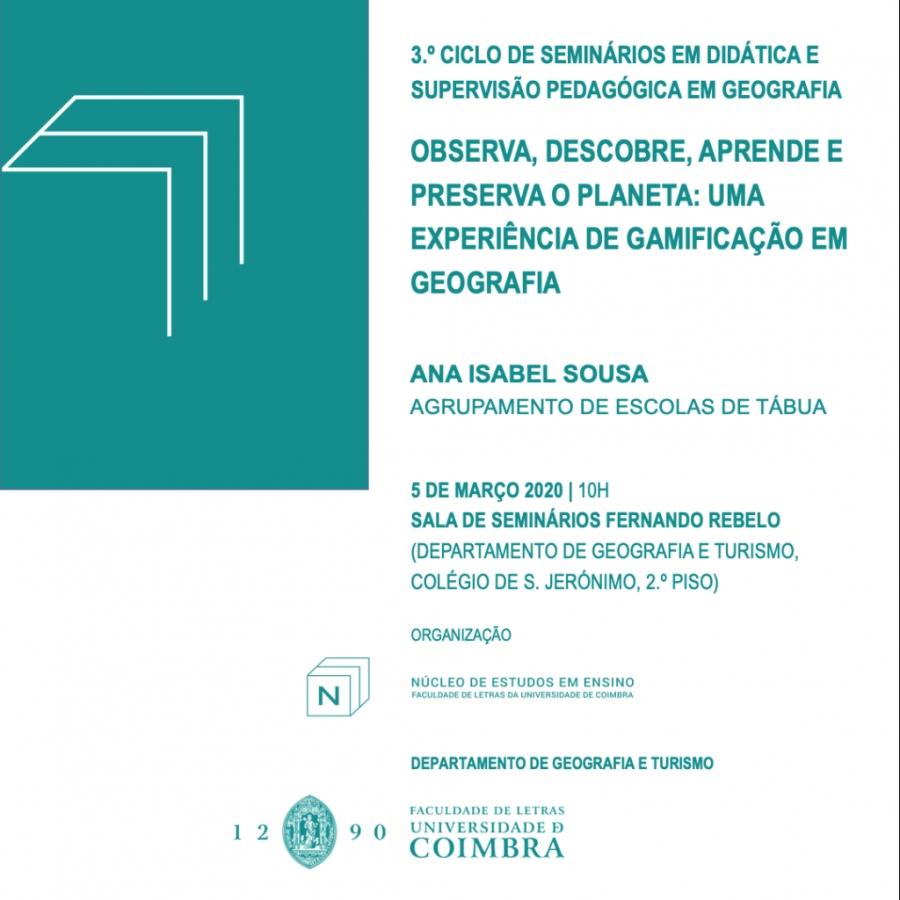 3º ciclo de Seminários em Didática e Supervisão Pedagógica em Geografia