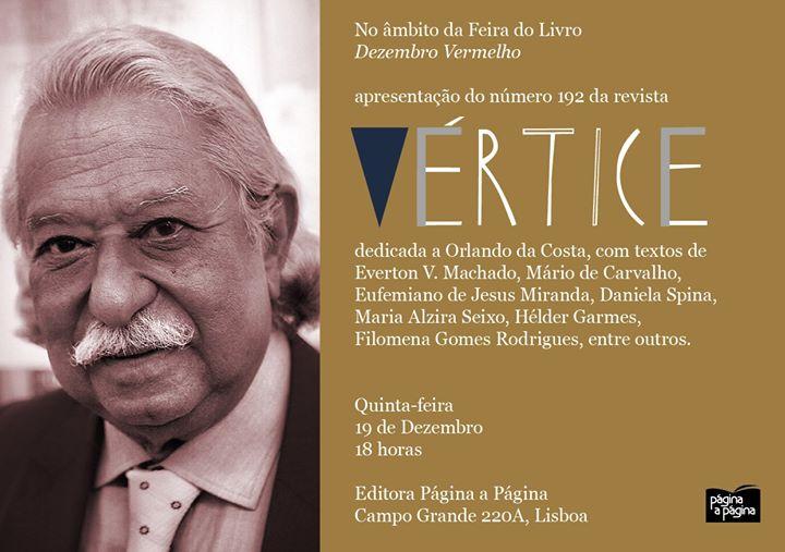 Apresentação da Revista Vértice 192, dedicada a Orlando da Costa