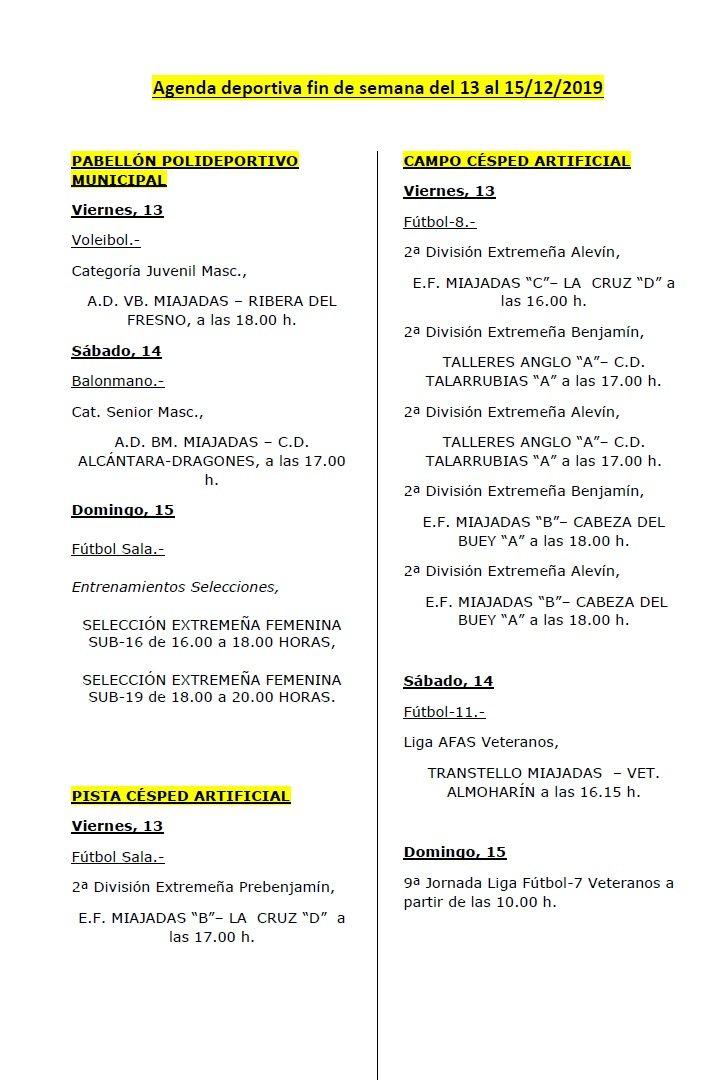 Agenda deportiva fin de semana del 13 al 15/12/2019