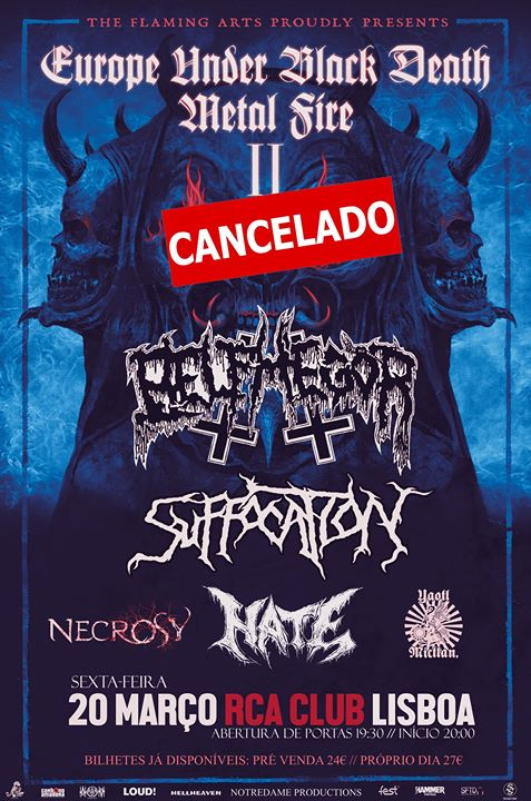 Cancelado - Belphegor / Suffocation / Hate - RCA Club