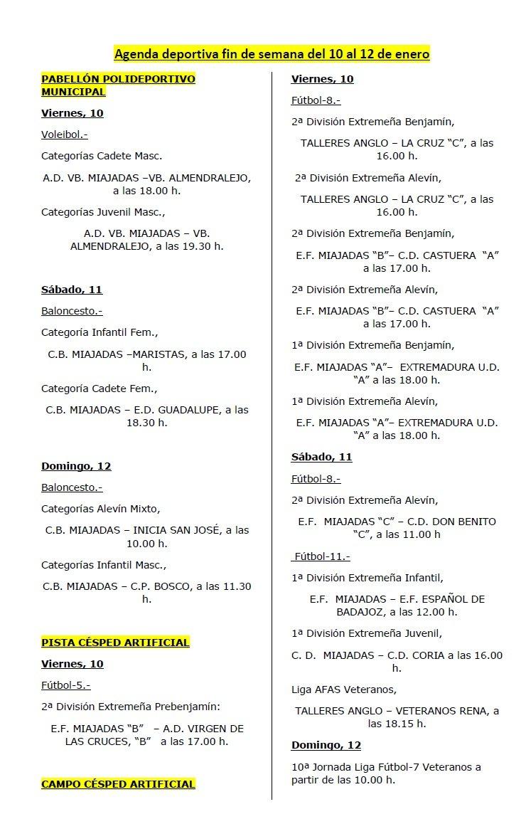 Agenda deportiva fin de semana del 10 al 12 de enero